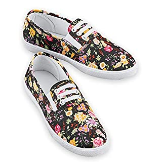 Classic Design Floral Stretch Lace Sneakers, No-tie Laces, Slip-on, Padded Insoles Black Multi