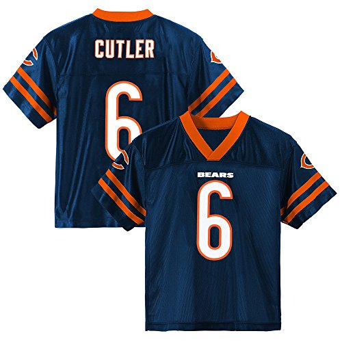 (Outerstuff Jay Cutler NFL Chicago Bears Dazzle Replica Navy Blue Home Jersey Youth (XS-2XL))