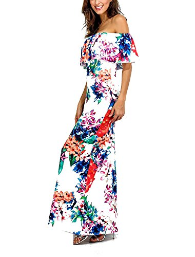 Party Small Shoulder Wedding Ruffle Floral Mai Color Printed shangke Multi Women's Flowers Off Dress xwq8P8g0f