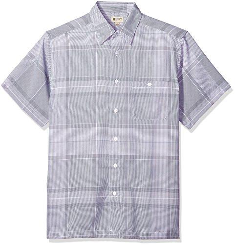 Haggar Men's Short Sleeve Microfiber Woven Shirt, White/Steel, XL (Sleeve Shirt Woven)