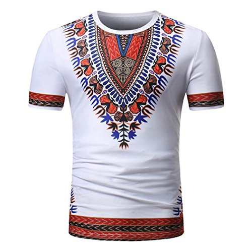 Nikuya Men Summer African Pullover Short Sleeve T-Shirt Top Casual Print O Neck Blouse (M, White) - Belted Charmeuse Top