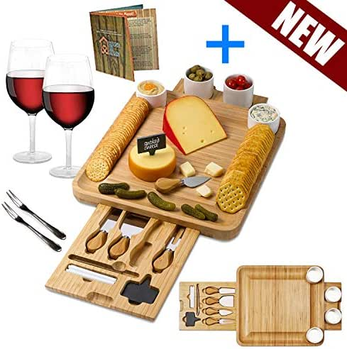 Bamboo Cheese Board Wooden 4 Ceramic Bowls. Magnetic 2 Drawers Charcuterie Serving Platter Cutlery Knife Set .2 Server Forks. Slate Labels and Markers Gift for Birthdays, Wedding Registry,Housewarming
