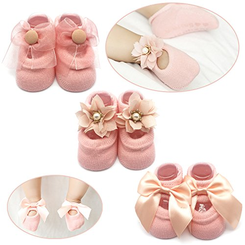 Girls Infant Socks (Elesa Miracle Non-skid Baby Girl Toddler Mary Jane Socks, Newborn Baby Photography Props Anti Slip Flower Pearl Bownote Socks Value Set in Gift Box (S for 0-6 Months, Pink))