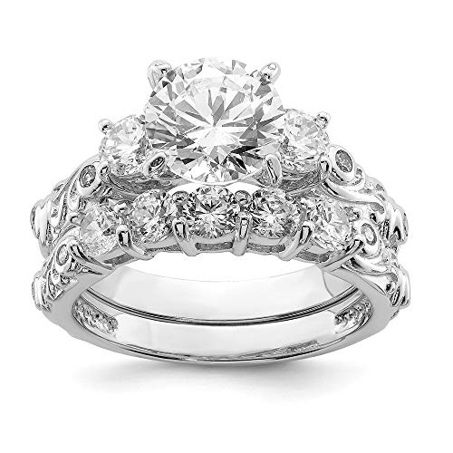 925 Sterling Silver 2 Piece Cubic Zirconia Cz Wedding Band Ring Size 8.00 Engagement Set Fine Jewelry Gifts For Women For Her