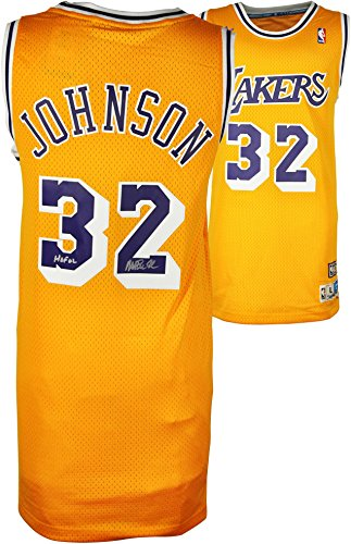 Magic Johnson Los Angeles Lakers Autographed Adidas Swingman Gold Jersey with HOF 02 Inscription - Fanatics Authentic Certified