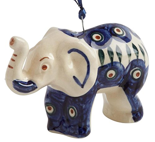 (Polish Pottery Peacock Elephant Handmade Ceramic Christmas Ornament Ceramic, 4
