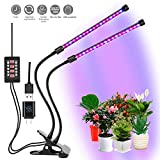 CLEECLI LED Grow Lights for Indoor Plants Dual Head Clamp Clip Plant Growing Lamp with Red, Blue Spectrum, 3 Working Modes, 5 Dimmale Levels, Ajustable Gooseneck Review