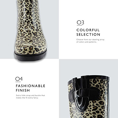 Puddles Knee Rain Leopard Snow Women's Multi Calf Boot Waterproof and Rainboots Color Mid High aSw5Cq