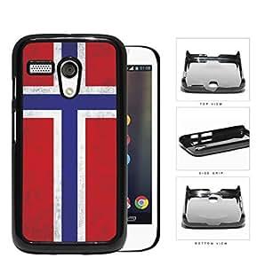 Norwegian Flag Dirty Grunge Hard Plastic Snap On Cell Phone Case Motorola Moto G