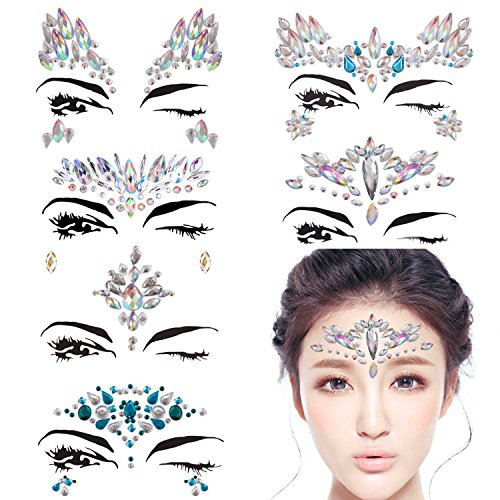 DaLin 6 Sets Mermaid Face Gems Rave Festival Glitter Face Jewels Stick On Crystals Bindi Rainbow Tears Rhinestone Temporary Tattoo Face Rocks (Collection 2)]()