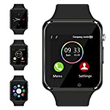 Bluetooth Smart Watch - Aeifond Touch Screen Sport Smart Wrist Watch Smartwatch Phone Fitness Tracker with Camera Pedometer SIM TF Card Slot for Samsung Android iPhone iOS for Men Women Kid (Black)