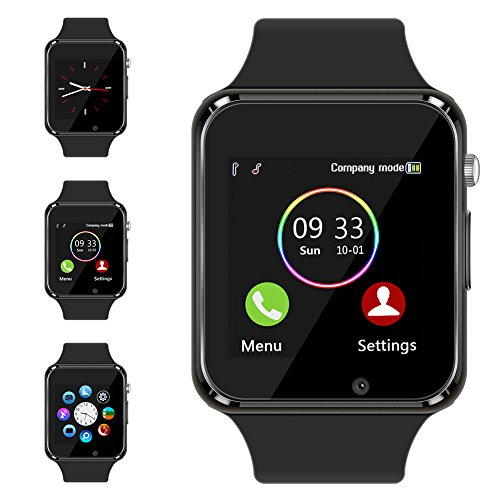 Bluetooth Smart Watch - Aeifond Touch Screen Sport Smart Wrist Watch Smartwatch Fitness Tracker Camera Pedometer SIM TF Card Slot Compatible Samsung Android iPhone iOS Men Women Kid (Black)