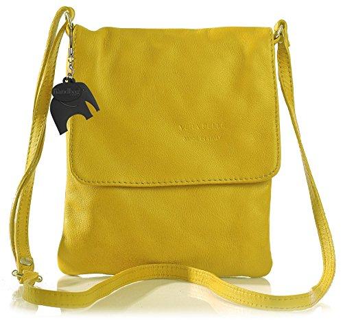 BHBS Bolso Pequeño para Dama tipo Bandolera en Piel Auténtica Blanda 18x23 cm (LxA) Amarillo - amarillo