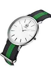 AIBI Men's Watch Analog Quartz Green Nylon Band Waterproof Watches For Mens With 40mm Case