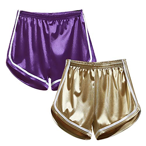- Women's Sexy Booty Dolphin Shorts Sports Gym Workout Yoga Hot Pants (L, 2Pack(Gold+Purple))