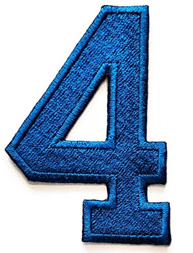 Blue Number 4 Patch Number 0-9 Novelty Applique Patches Sew On Patches for Clothes Jackets T-Shirt Jeans Skirt Vests Scarf Hat Backpacks Logo Number Letter School Symbol Counting (Blue Number 4)