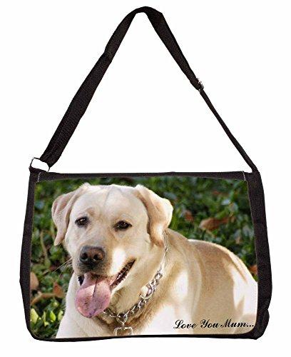 Yellow Labrador Dog Love You Mum Large 16 Black School Laptop Shoulder Bag