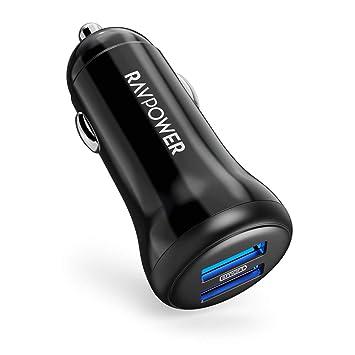 RAVPOWER Cargador de Coche, Cargador Móvil 24W 4.8A con 2 Puertos USB Cargador de Red Adaptador Automóvil con Tecnología Ismart para iPad Samsung ...