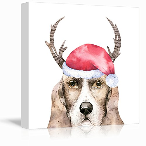 Square Dog Series Watercolor Style Painting of a Dog Wearing a Christmas Hat and Antlers