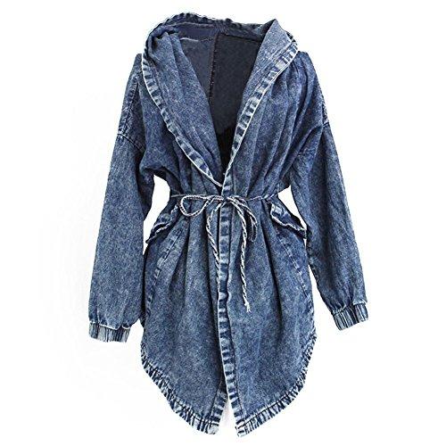 FeelMeStyle Womens Demin Trench Coat Outwear Jacket with Hood Oversized Windbreaker ()