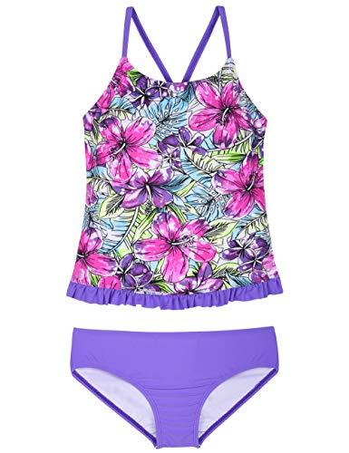 Hilor Girl's Two Piece Swimsuits Ruffle Hem Tankini Set Cross Back Swimwear Set Purple&Red Floral -