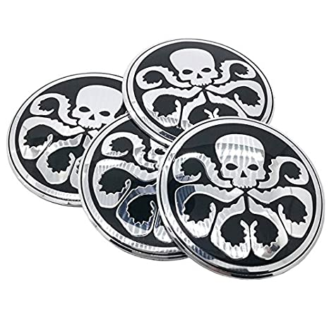 Silver 4pcs lot 56mm hydra skull aluminum sticker car steering tire wheel center car sticker hub cap emblem badge decals red silver amazon in car