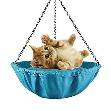 NSHK Hamaca para Gatos Tipo Colgante Cama para Gatitos Redondo Lona para Mascotas Lona Sling Desván Transpirable para la Vida de Verano, Blue: Amazon.es: ...