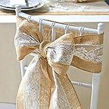"burlap chair covers Lucky Monet 5Pcs Burlap Lace Chair Sashes Hessian JuteChair Cover Bows Rustic Linen Lace Chair Bows for Wedding Decoration, Party, Birthday, Engagement, Home Décor (6"" x 94"", 5pcs)"