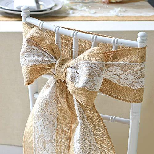 "Lucky Monet 5Pcs Burlap Lace Chair Sashes Hessian JuteChair Cover Bows Rustic Linen Lace Chair Bows for Wedding Decoration, Party, Birthday, Engagement, Home Décor (6"" x 94"", 5pcs)"