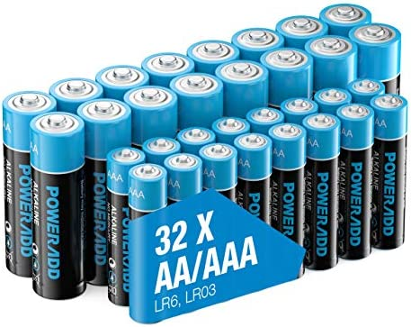POWERADD AA+AAA Alkaline Batteries Long Lasting, All-Purpose Battery for Household and Business - 32 Count