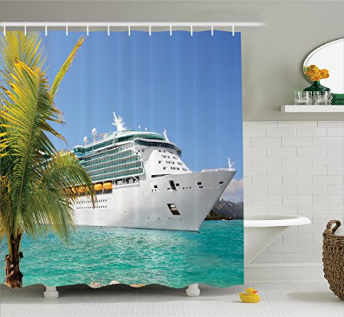 Ambesonne Cruise Ship Decor Collection, Cruise Ship Sailing from Port Vacation Tropic (Cruise Ship Picture)