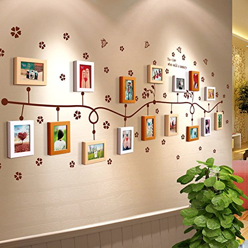TIANTA- 16 Boxes Children Room Real Wood Frame Wall Simple Modern Photo Wall Stickers Living Room Aisle Restaurant Office Decorated Large Wall Photo Frame Wall adorn ( Color : #3 )