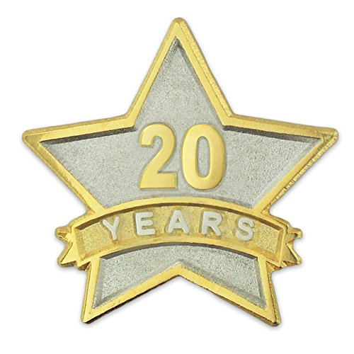 PinMart's 20 Year Service Award Star Corporate Recognition Dual Plated Lapel Pin