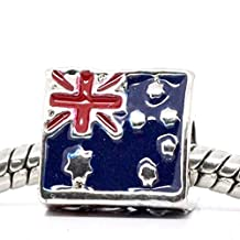 "3 Sided Triangle ""Australia Flag ""Bead Charm For Snake Chain Charm Bracelet"