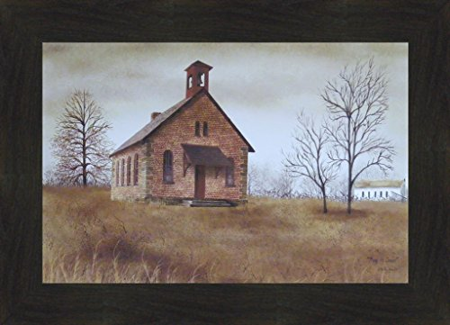 Back To School by Billy Jacobs 16x22 Little Country Brick School House Primitive Folk Art Print Framed Picture (2