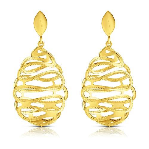 - 14k Yellow Gold Polished and Diamond Cut Curves Teardrop Dangle Earrings