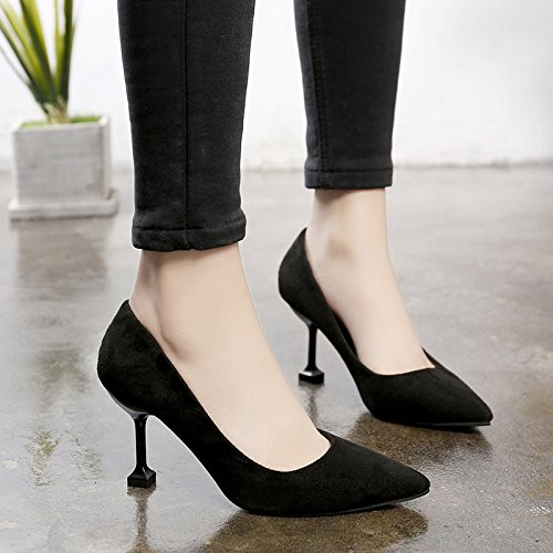 Femmes Aiguilles Chaussures Fine Avec Et 35 Pointe Noir Talons Pour TfxB0wTng