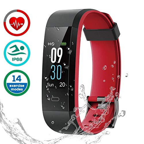 CHEREEKI Fitness Tracker [Latest Version], Color Screen Activity Tracker Smart Bracelet Waterproof IP68 Pedometer Watch 24-Hours Heart Rate Monitor/ 14 Sport Modes Android & iOS (Black Red)