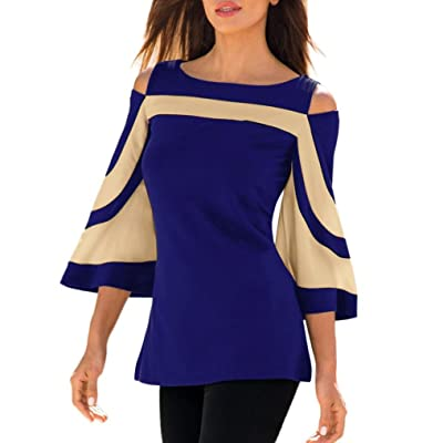 Women Cold Shoulder Long Sleeve Top Blouse Patchwork Sweatshirt Pullover Shirt Tops: Clothing