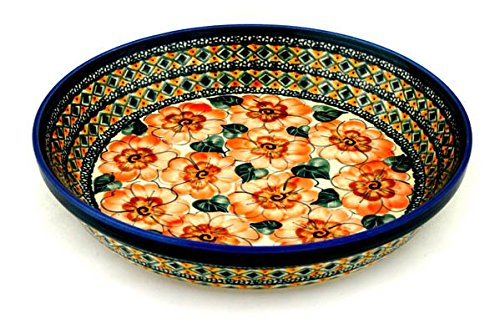 Polish Pottery Pie Dish 10-inch Peach Poppies UNIKAT by Polmedia Polish Pottery