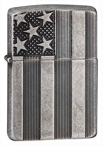 Usa Cigars - Zippo Armor American Flag Pocket Lighter, Antique Silver Plate