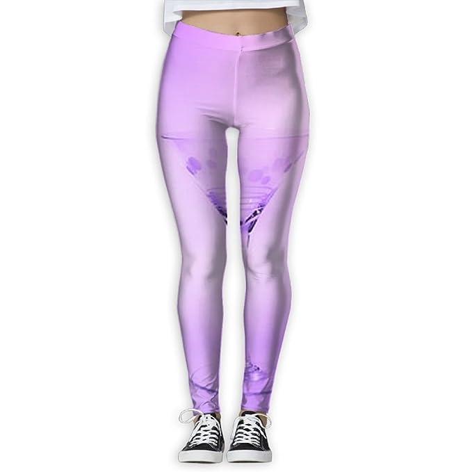 a48b8c72c62c7c Amazon.com: Glass Cocktail-bright Purple Elastic High Waist Yoga Leggings  For Women: Clothing