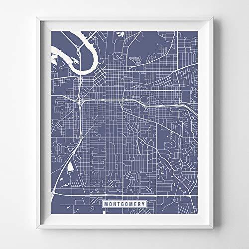Amazon.com: Montgomery Alabama Map Print Street Poster City Road ...
