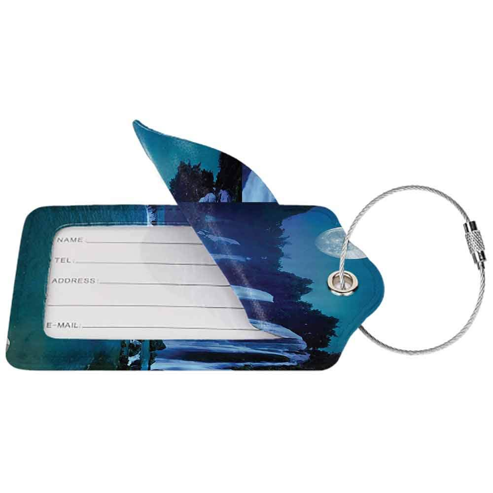 Personalized luggage tag Waterfall Decor Collection Waterfall Under Moonlight Full Moon Nature Night Print Easy to carry Navy Blue Dark Turquoise W2.7 x L4.6