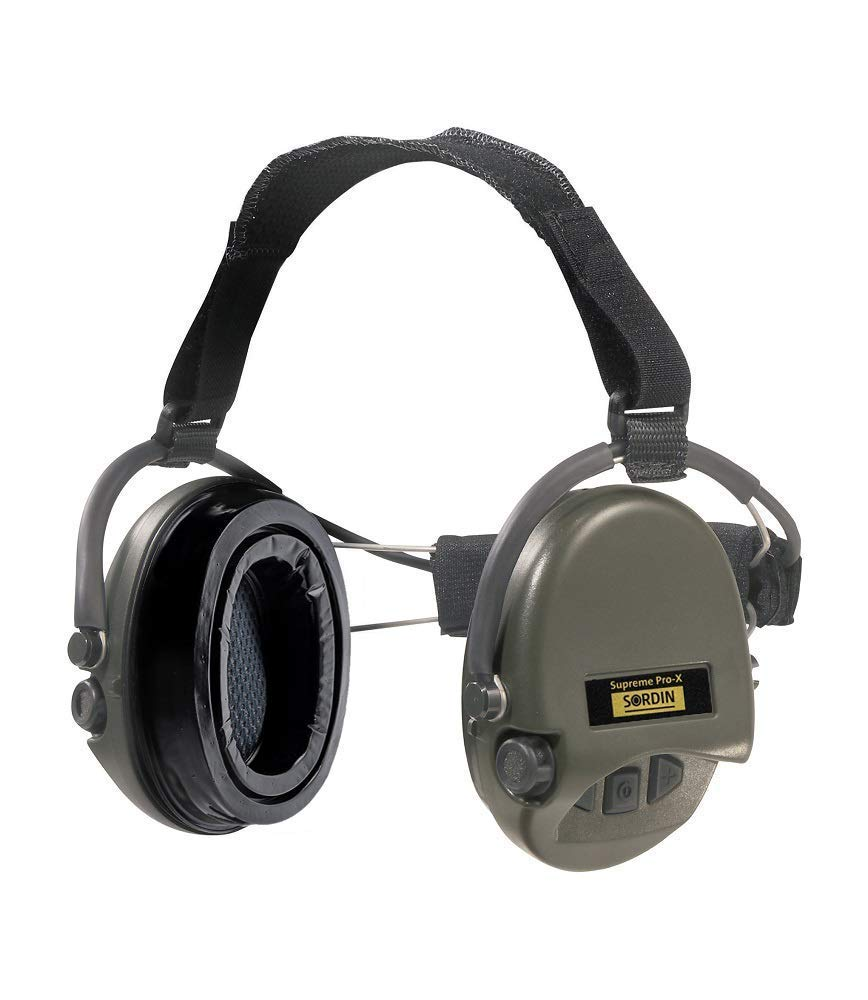 Sordin Supreme PRO X Neckband Safety Ear Muffs - with Gel Seal Hygiene Kit - Gel Ear Cups SNR: 25dB - Green - 76302-X-10
