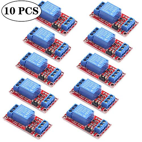 Flymmy 5v Relay Board Raspberry Arduino Relay Module 1 Channel Opto-Isolated High or Low Level Trigger 10 Pack
