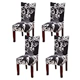 dining room design ideas Fuloon Super Fit Stretch Removable Washable Short Dining Chair Protector Cover Seat Slipcover for Hotel,Dining Room,Ceremony,Banquet Wedding Party (4, Black with White)