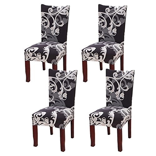 Fuloon Super Fit Stretch Removable Washable Short Dining Chair Protector Cover Seat Slipcover for Hotel,Dining Room,Ceremony,Banquet Wedding Party (4, Black with White)
