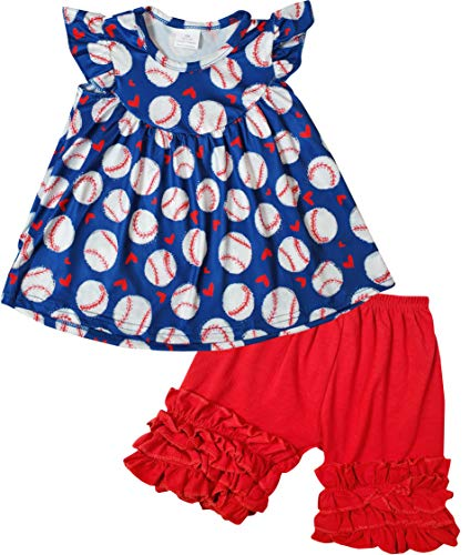 - Boutique Baby Girls July 4th Game Day Love Baseball Ruffles Top Capri Outfit 12-18M/2XS