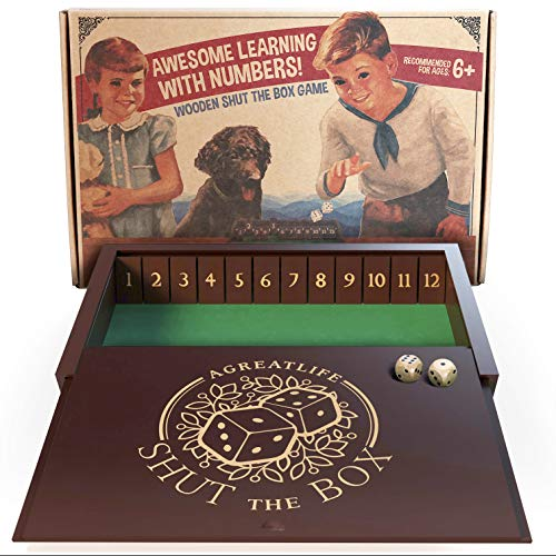 aGreatLife Wooden Shut The Box - Classic Multiplayer Dice Game for Adults and Kids Alike - Great for Learning Number Operations (Great Family Games To Play At Home)